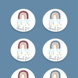 60 LG Boho Rainbow Thank You Stickers White